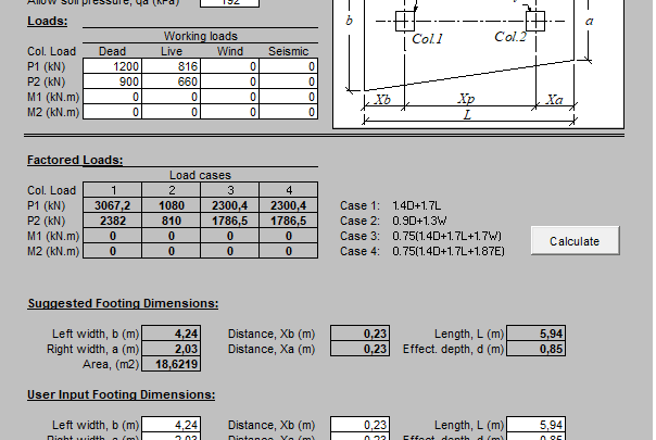 Combined Footing Analysis and Design Spreadsheet