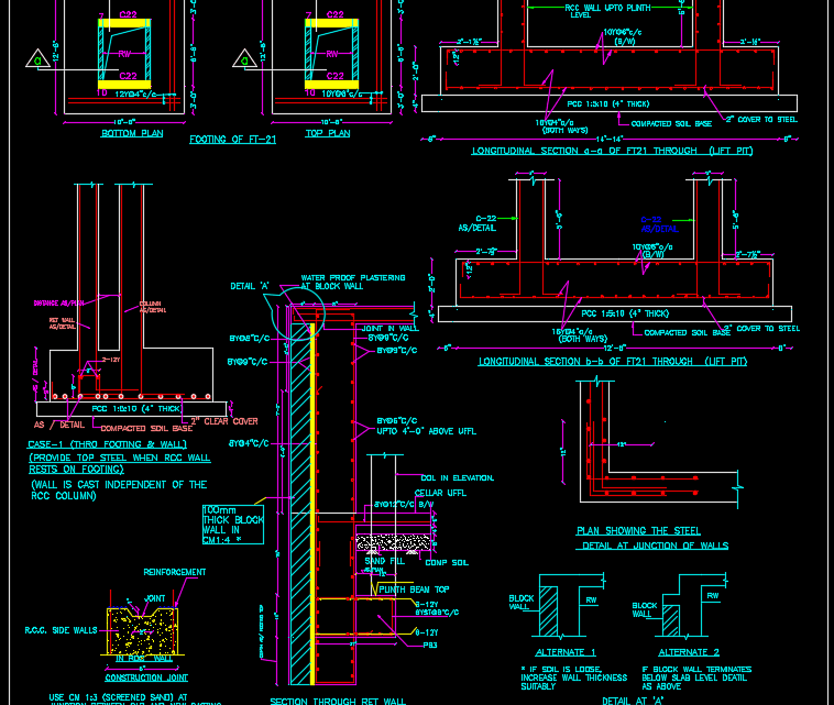 Combined Footing & RCC Wall Details Autocad Drawing