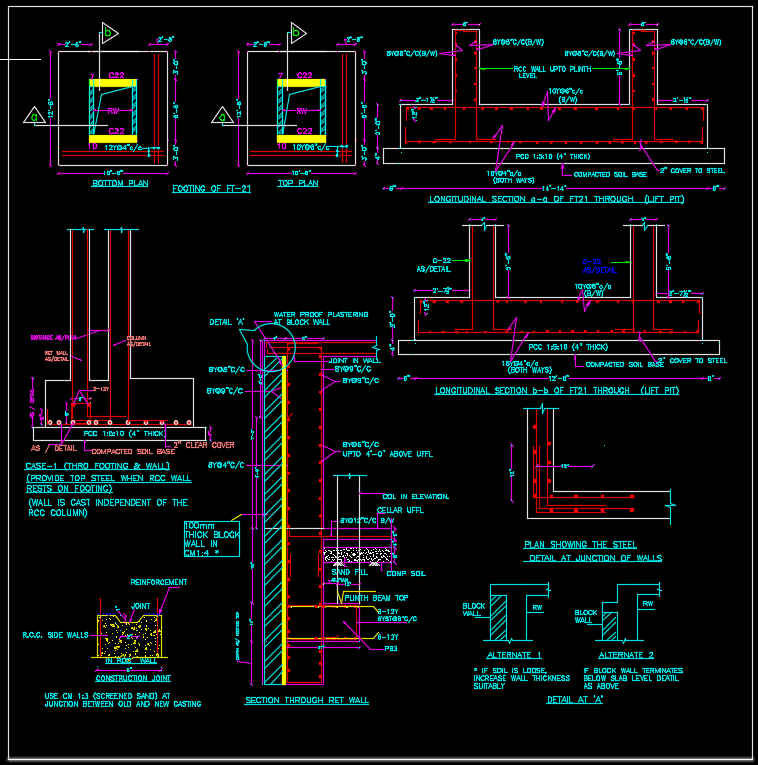 Combined Footing  U0026 Rcc Wall Details Autocad Drawing