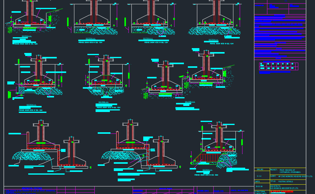 Combined Footing details Free DWG