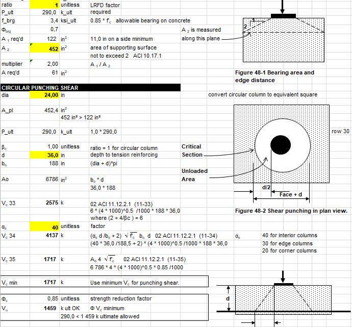 Concrete Shear Calculation Spreadsheet
