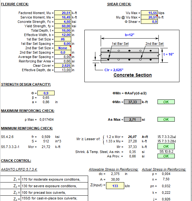 Concrete Slab and Wall Design Spreadsheet