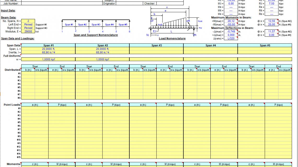 Continuous Span Beam Analysis Spreadsheet
