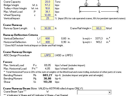 Crane Beam Design Spreadsheet