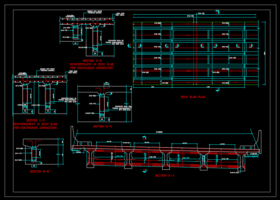 Deck Slab and Diaphragm Reinforcement Autocad Drawing