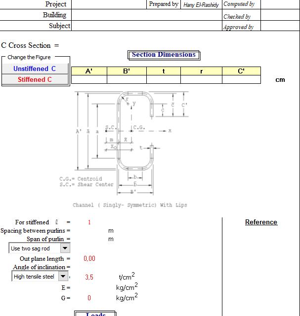 Design of C Purlins Spreadsheet
