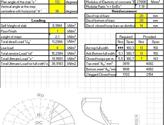 Design of Helicoidal Stair Spreadsheet