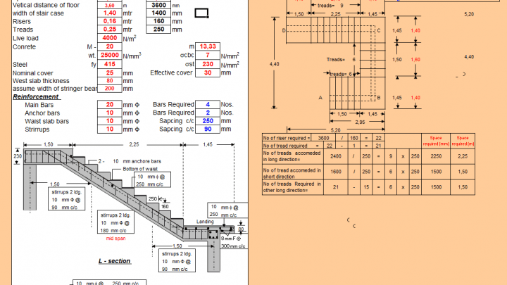 Design of Stair Case with Central Stringer Beam Spreadsheet