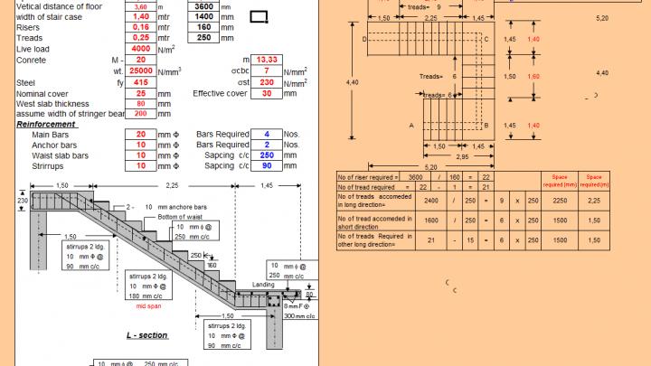 Design of Stair Case with Central Stringer Beam Spreadsheet