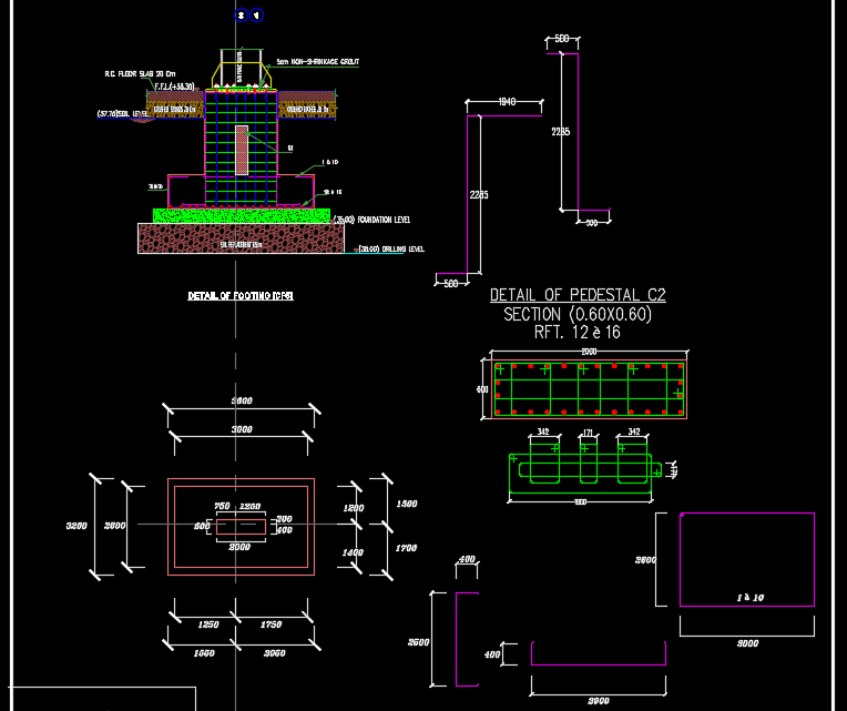 Details of Footing Autocad Drawing