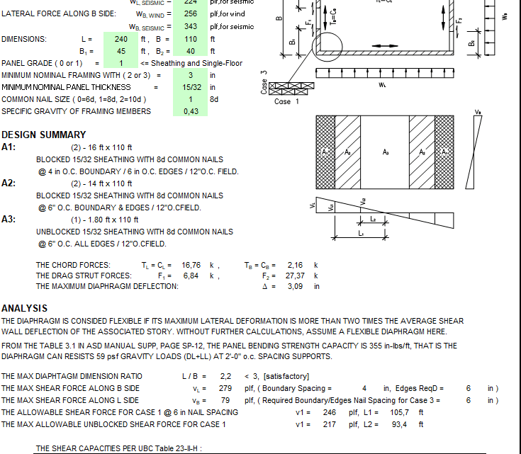 Diaphragm Design Spreadsheet