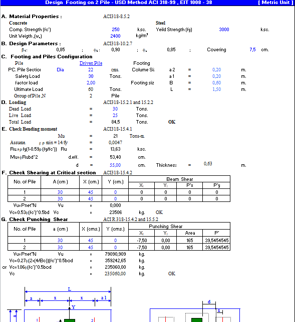 Footing on Pile Design Spreadsheet