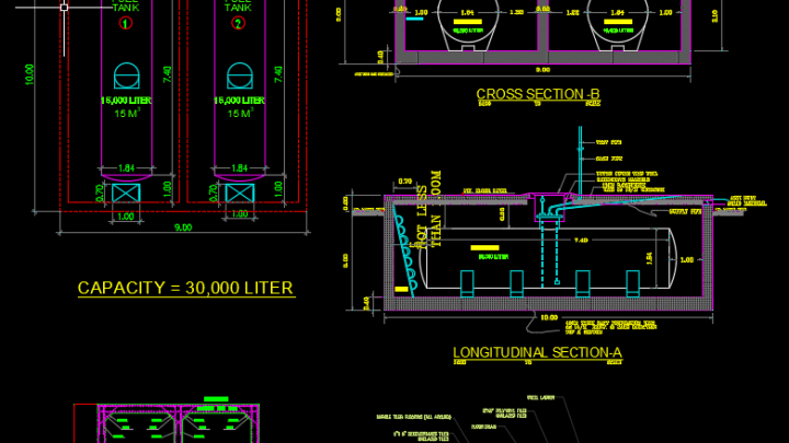 Fuel Tank Details Autocad Drawing