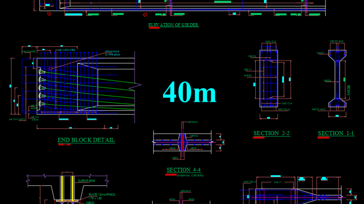 Girder Elevation and section reinforcement Free Drawing