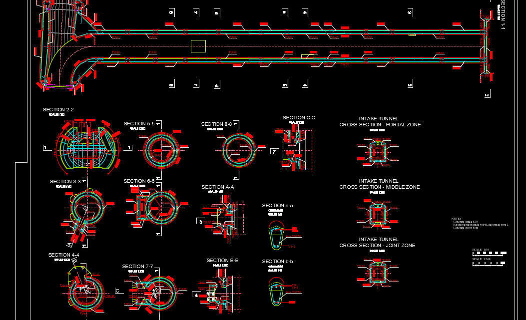 Multilevel Water Intake Reinforcement Autocad Drawing