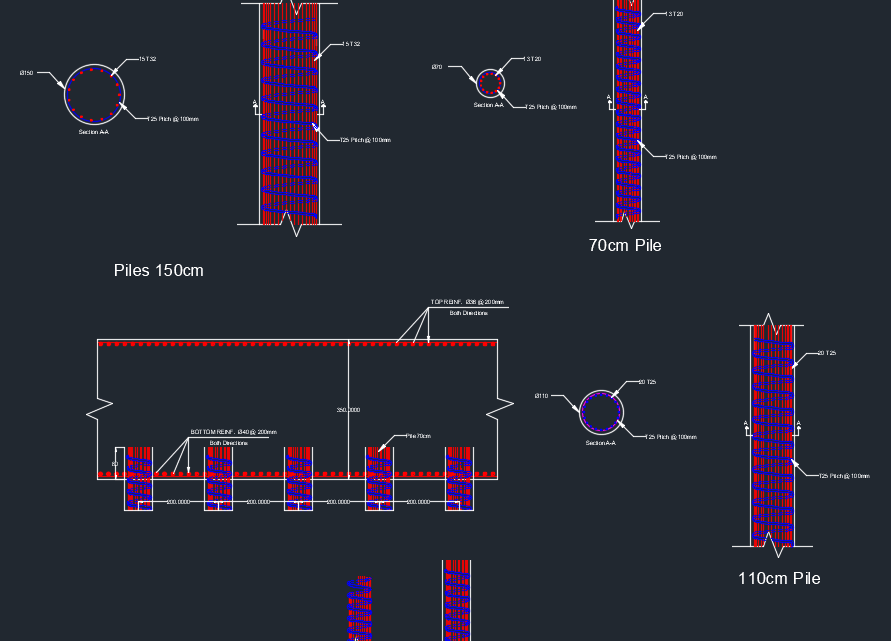 Piles and raft reinforcement Free Drawing