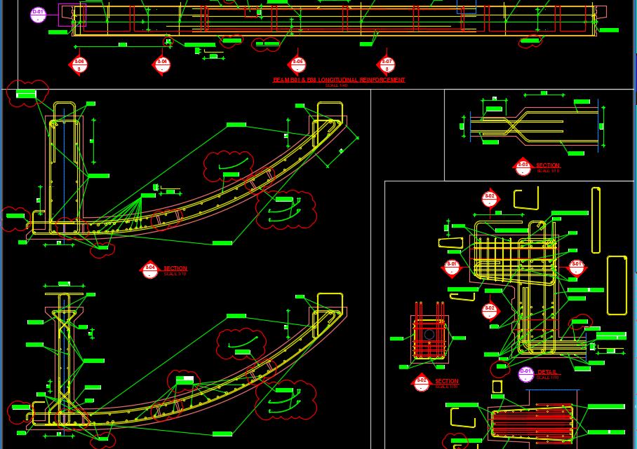 Precast Beams Reinforcement Autocad Drawing