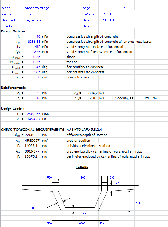 Shear and Torsion Calculation on Bridge Section Spreadsheet