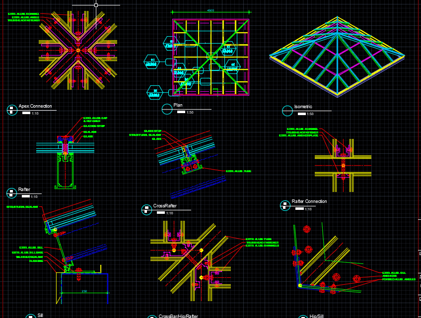 Skylight Plan and sections details Free Autocad