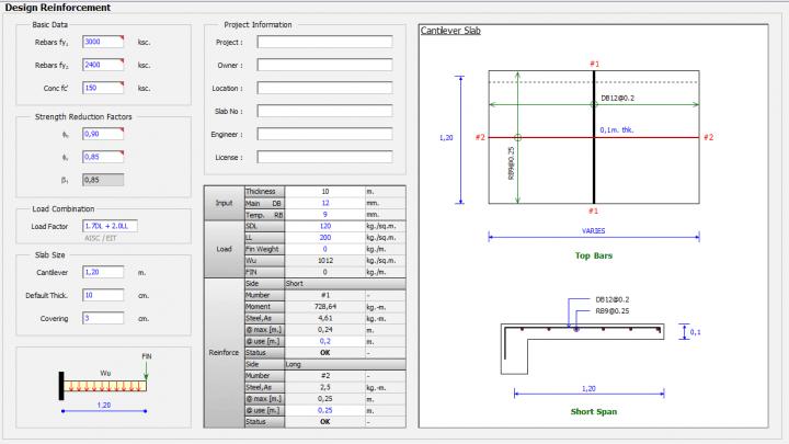 Slab Cantilever Reinforcement Design Spreadsheet
