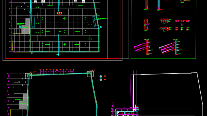 Soil Retaining Piles Layout Autocad Drawing