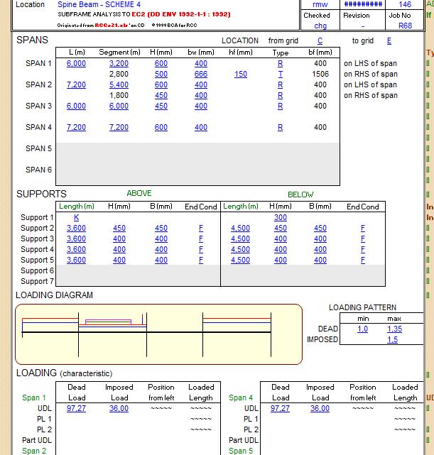 Spine Beam Subframe Analysis Spreadsheet