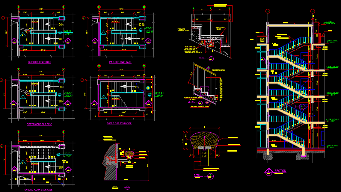 Staircase Elevation and sections Autocad Drawing