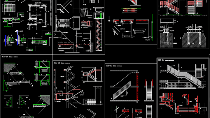 Staircase Structural Design Autocad Drawing
