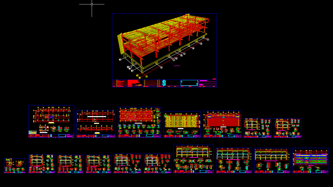 Steel Building plans with details Autocad Drawing