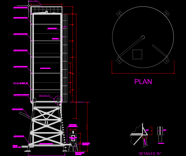 Steel Silo Autocad Drawing
