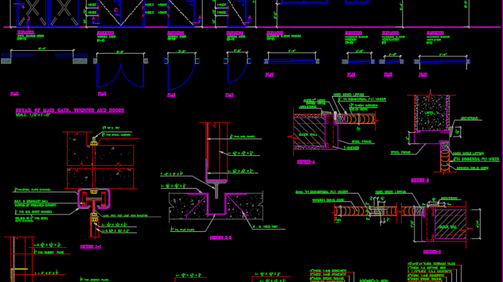 Steel Sliding Door autocad Drawing