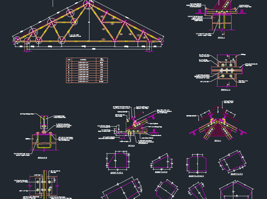 Steel Truss Details Free Drawing