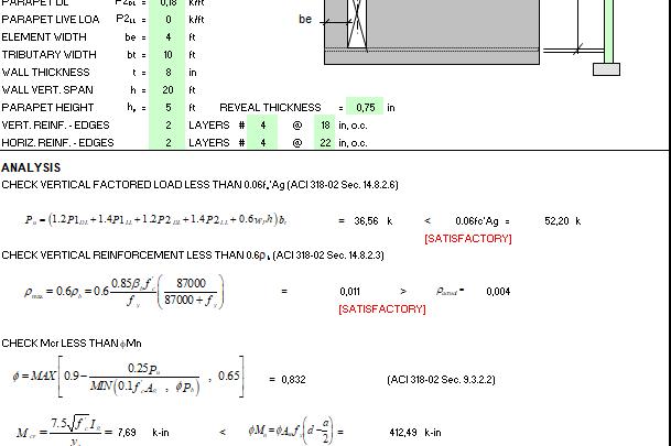 Tilt-up Panel Design Spreadsheet