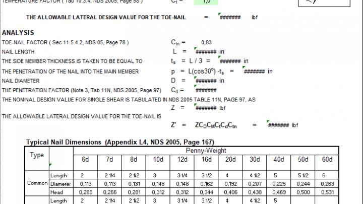 Toe-Nail Connection Design Spreadsheet