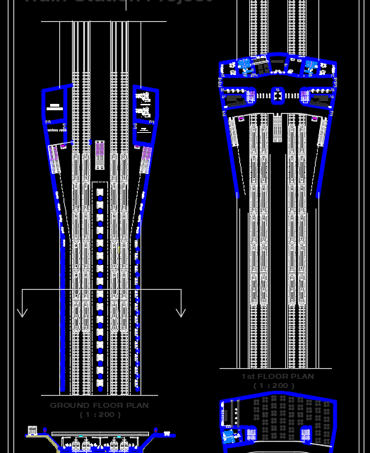 Train Station Plan and Section Free Drawing