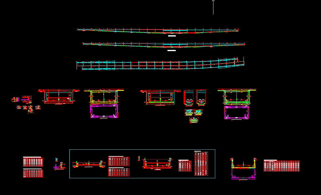 Tunnel plan, profil and cross section details Free DWG