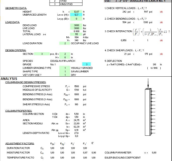 Wood Column Design Spreadsheet