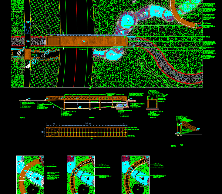 Wooden Bridge Autocad Drawing