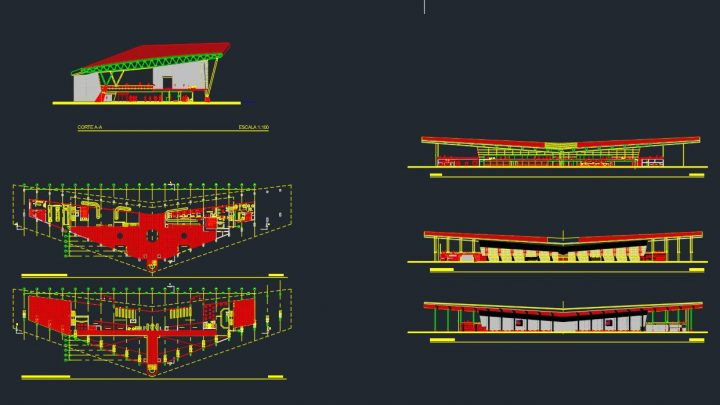 Airport Layout plan and elevation Autocad Drawing