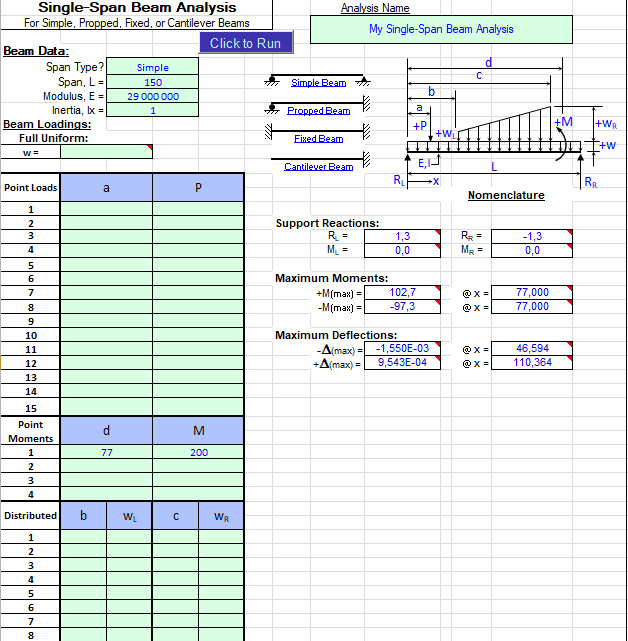 Continuous and Single Beam Analysis Spreadsheet