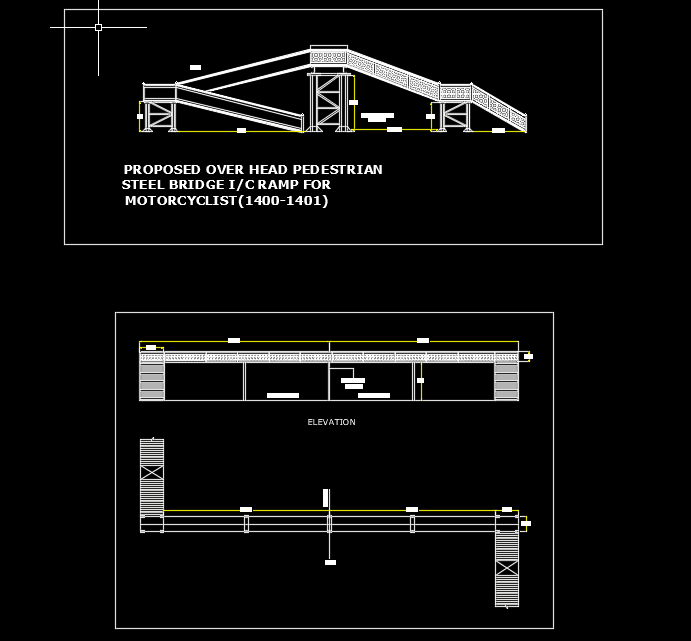 Pedestrian Steel Bridge Autocad Drawing