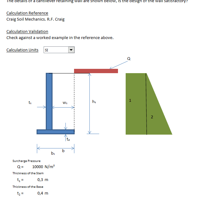 Cantilever Retaining Wall Analysis Excel Sheet