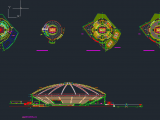 Coliseum Layout Plan and Elevation Autocad DWG File