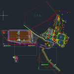Concrete Pavement Layout plan and Cross section Autocad Drawing