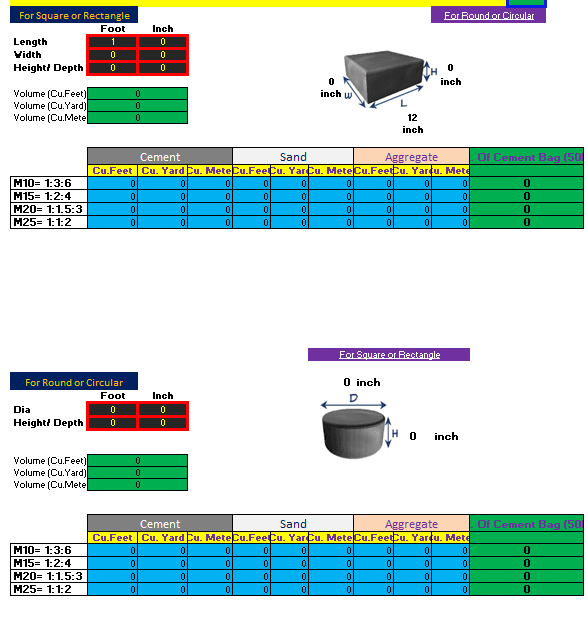 Concrete, Steel and Brick Volume Calculator Excel Sheet