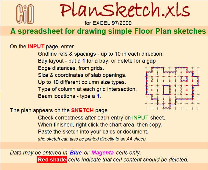 Excel Sheet Plan Sketch for drawing simple Floor