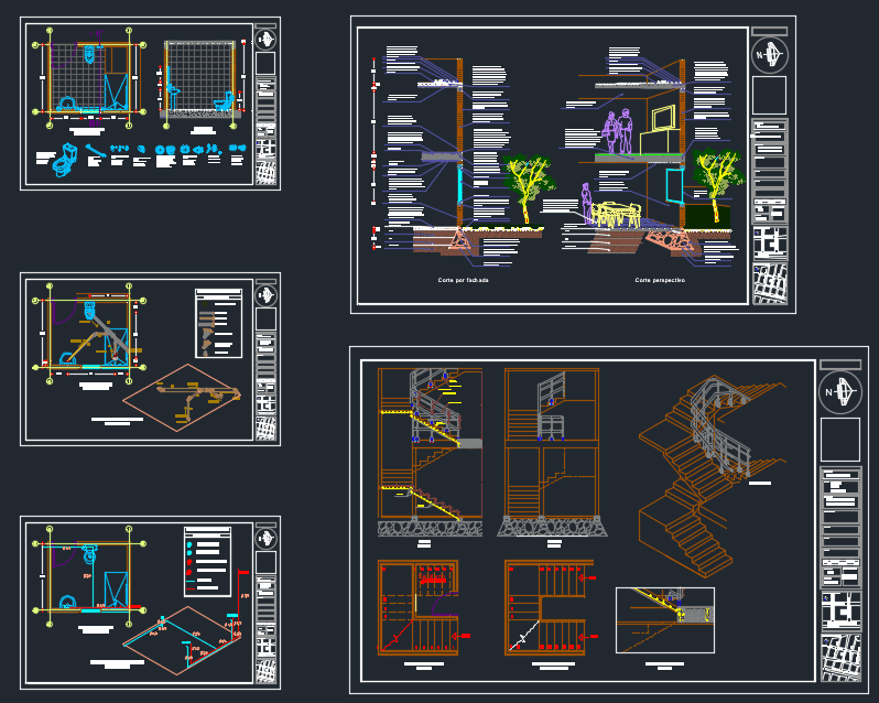 Facade sections, staircase, plumbing, isometric Free Autocad Drawing