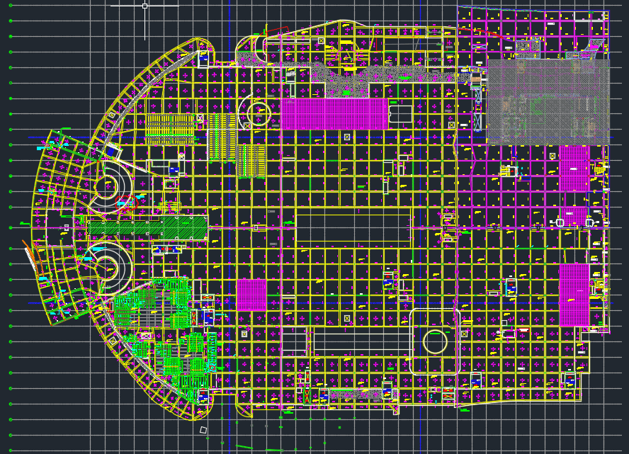 Ground Floor Steel Structural Layout Autocad Drawing