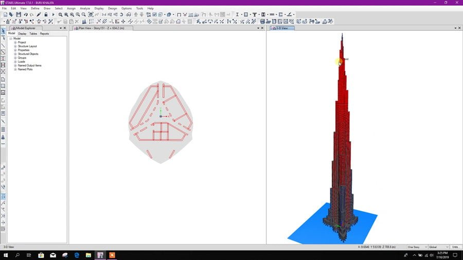 Modeling of Burj Khalifa in Etabs v17 with Column, Shear Wall and Floors