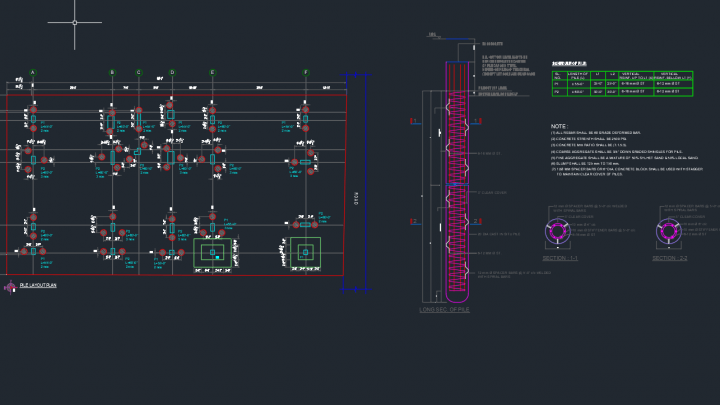 Pile Layout Plan and Section Detail Autocad Drawing